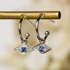 14K Diamond Evil Eye Charm Hoops