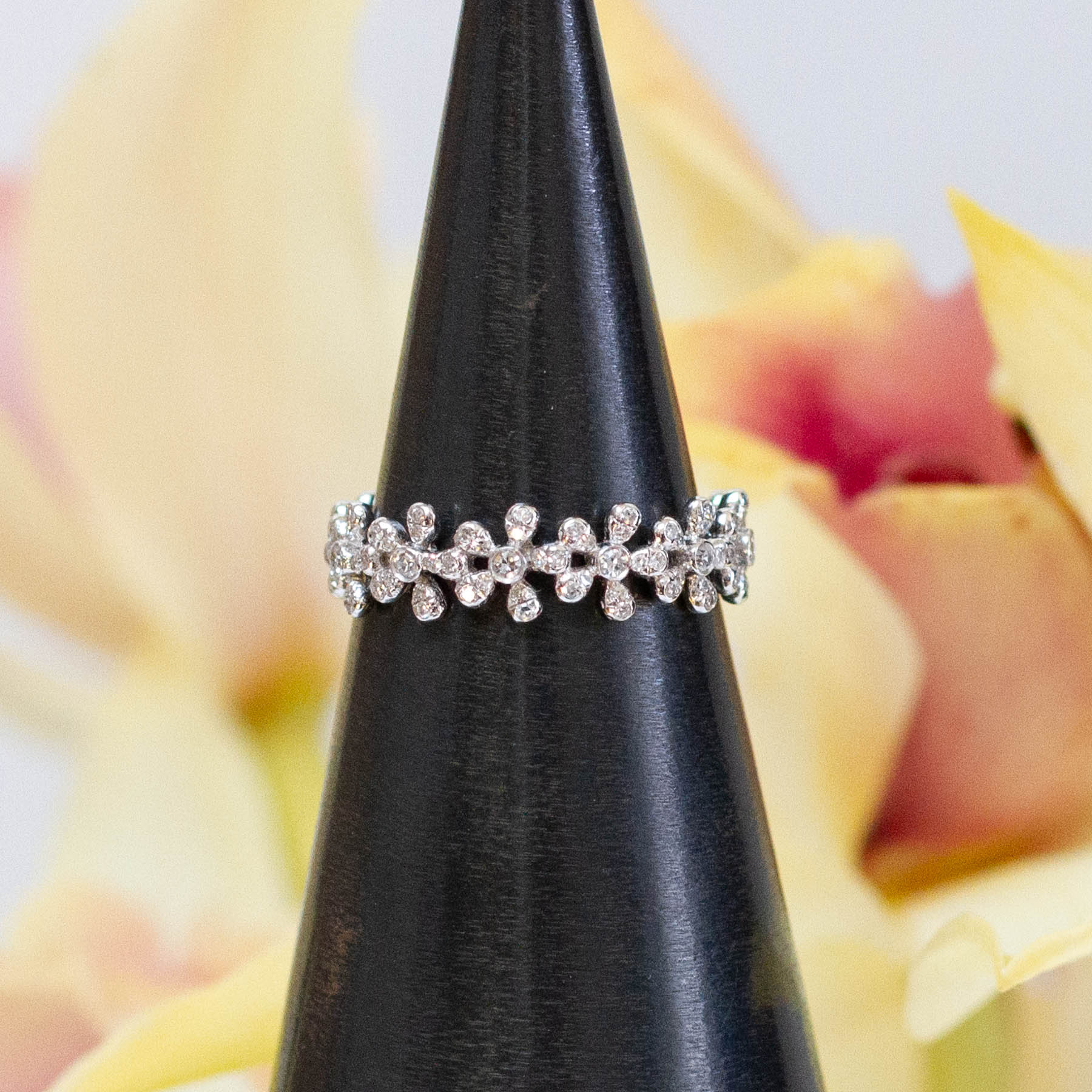14K Diamond Flower Eternity Ring