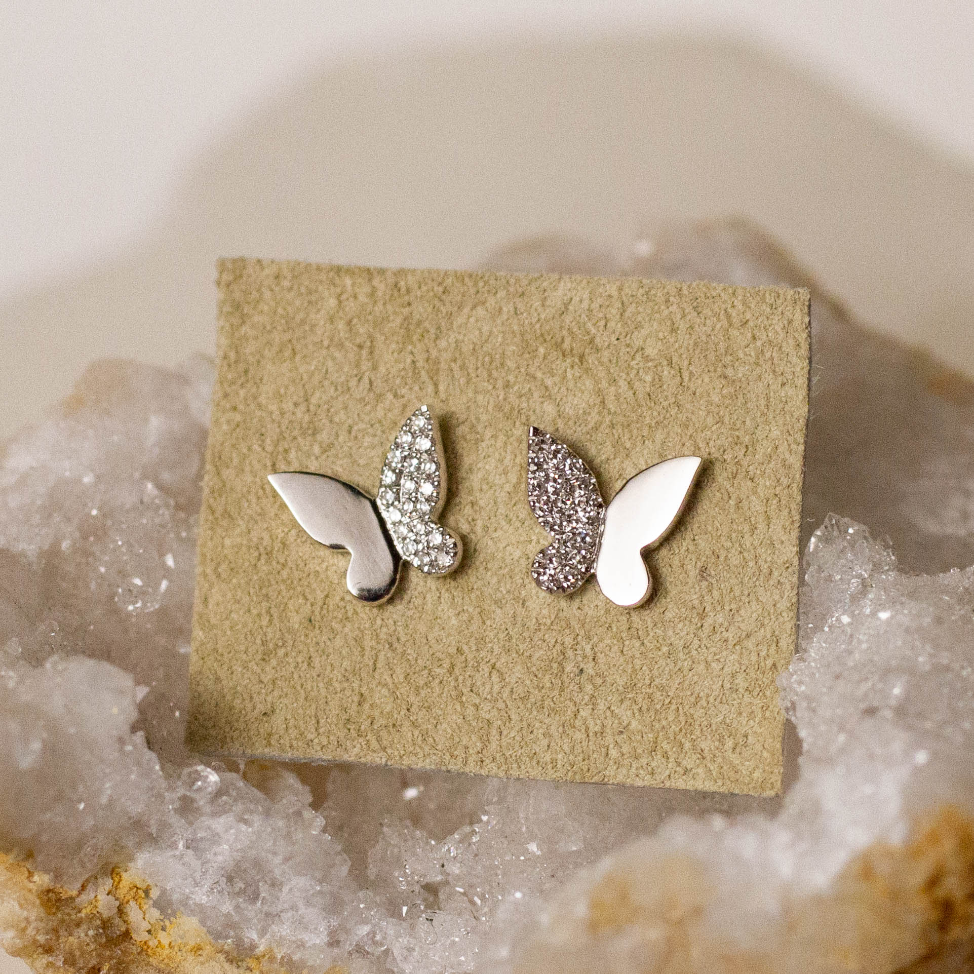 14K Diamond Butterfly Stud Posts