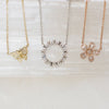 14K Diamond Baguette Flower Necklace