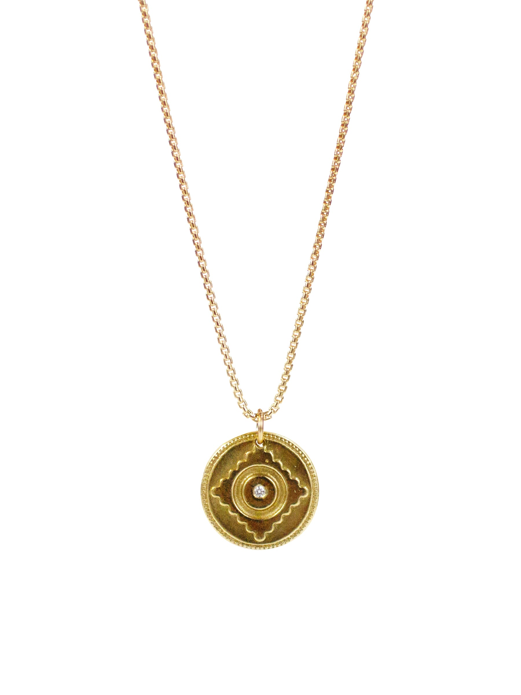 "Leela Necklace, divine grace, yellow bronze or sterling silver ""Leela"" pendant with 14k gold filled or sterling silver rolled box chain."