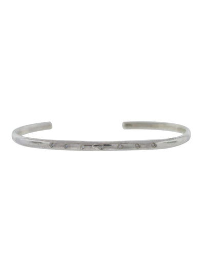 Sterling Silver Organic Cuff w/ Diamonds