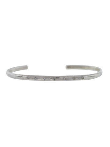 Sterling Silver Organic Cuff with Diamonds