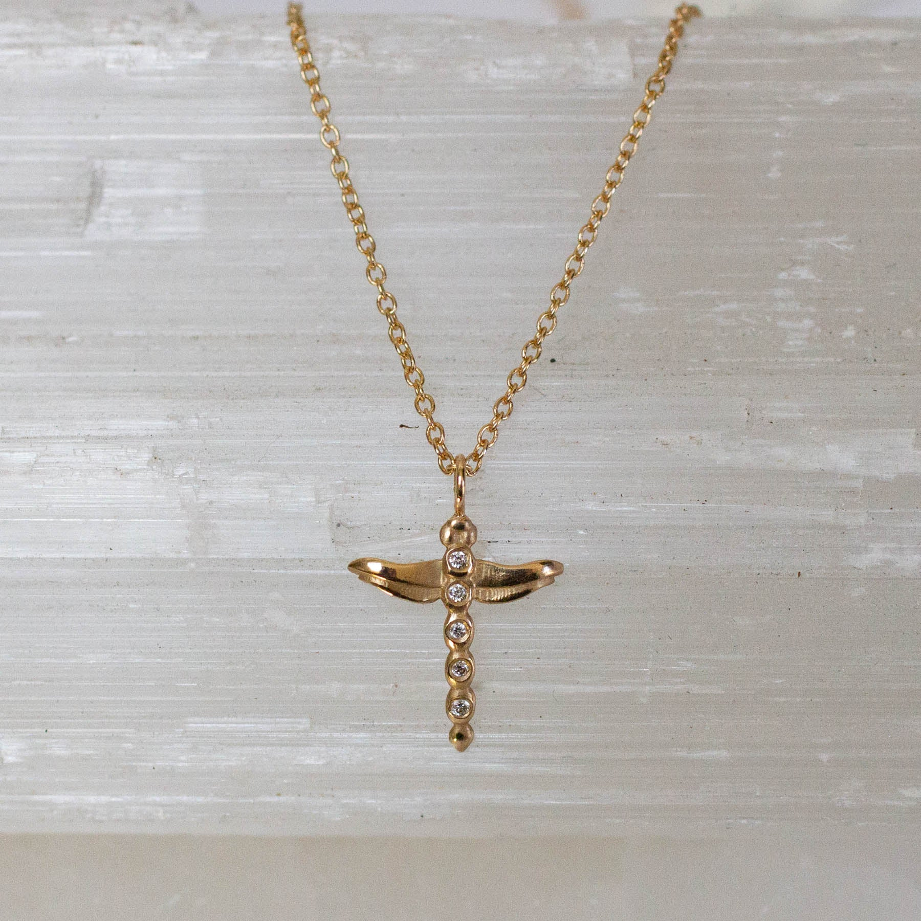 14K Diamond Dragonfly Necklace
