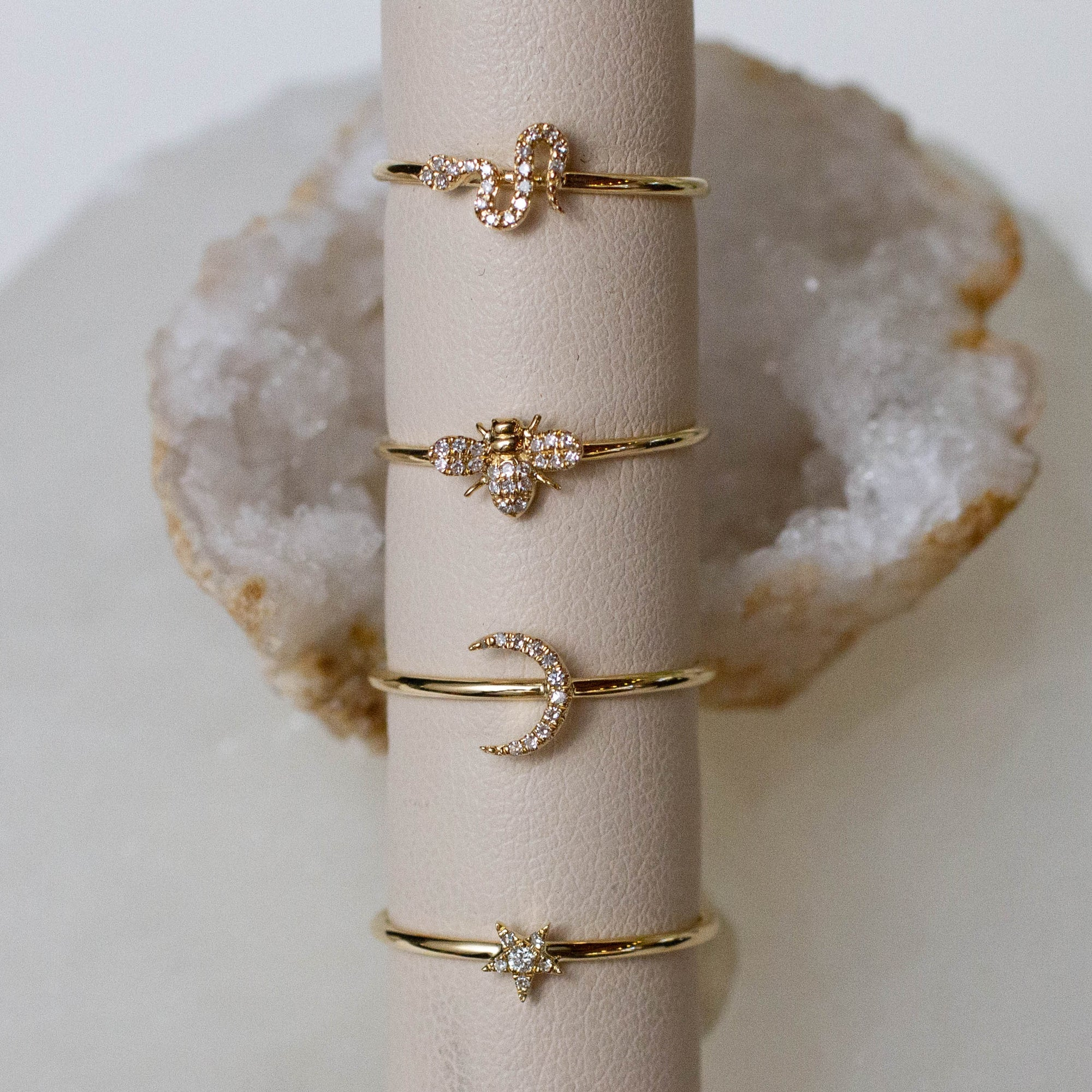 14K Diamond Petite Snake Ring