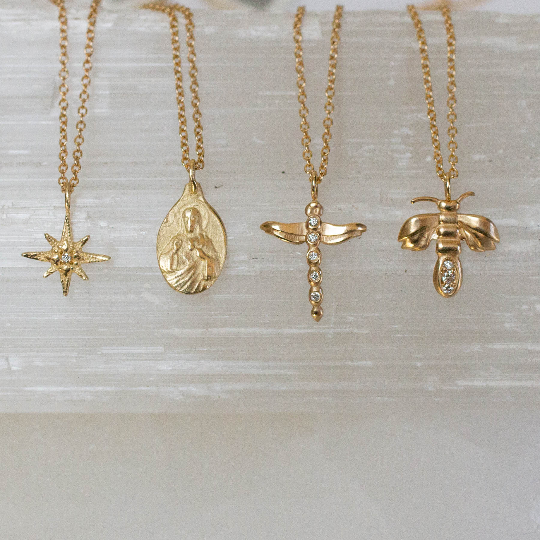 14K Diamond Bee Necklace