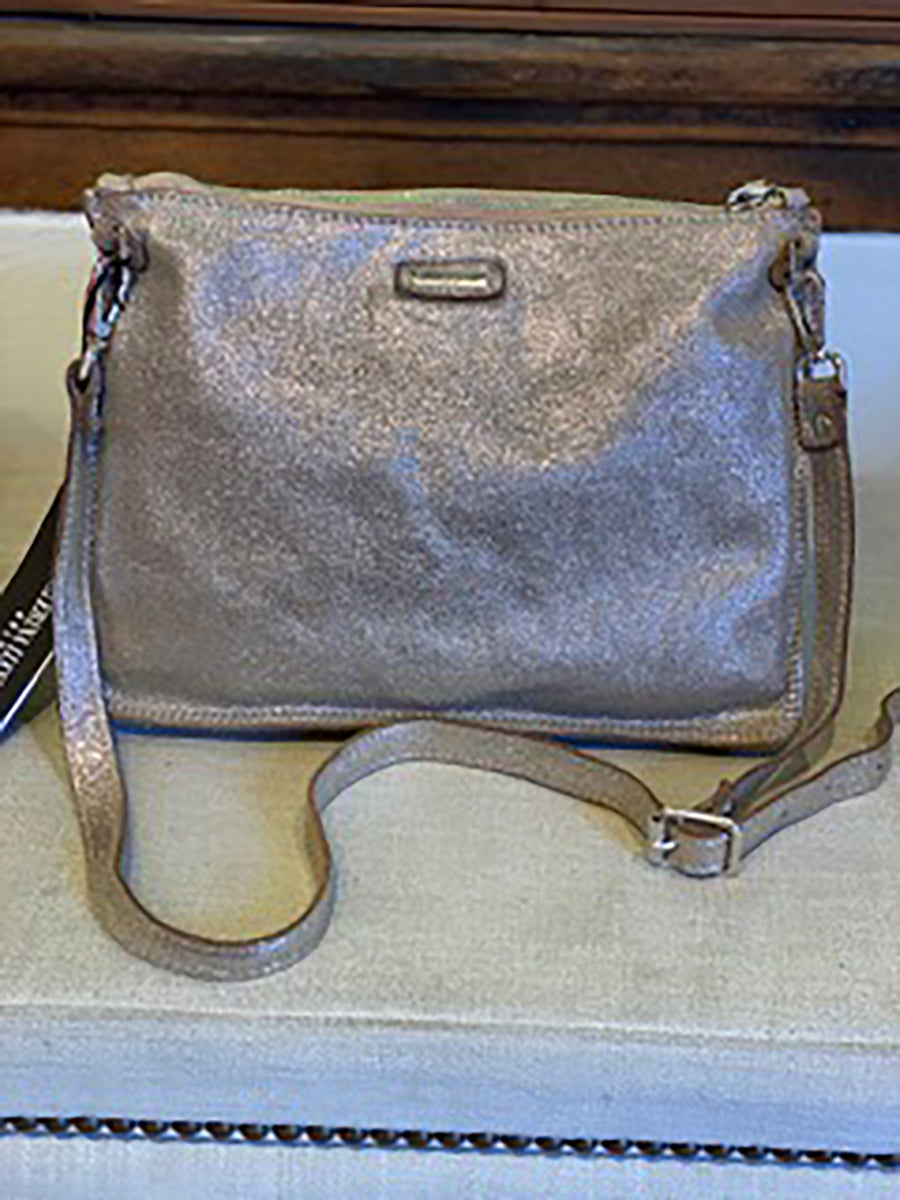 Large Metallic Laminated Leather Bag