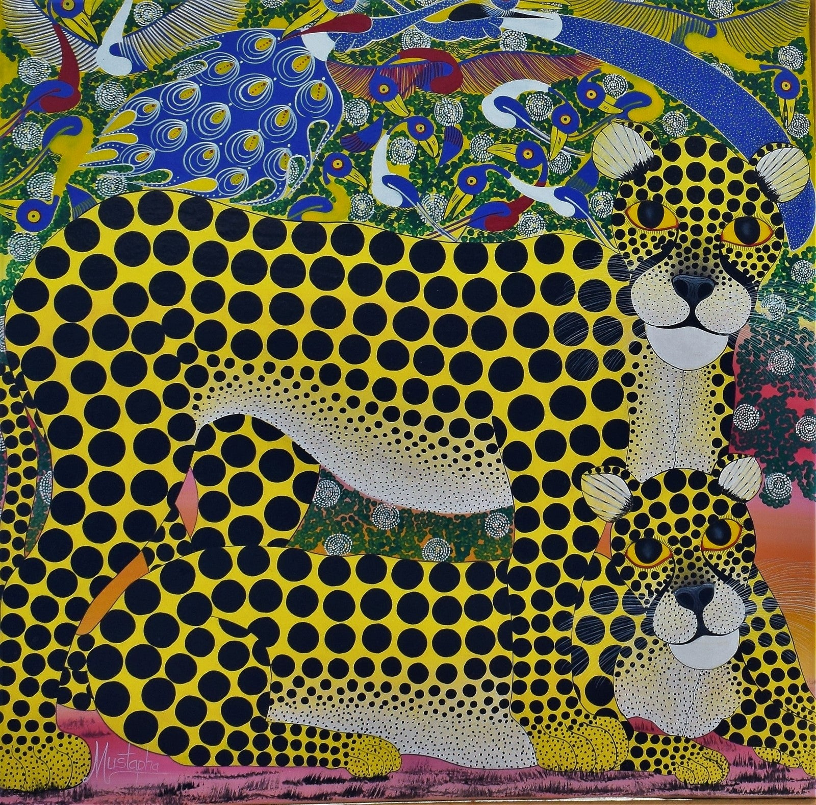 tinga tinga african art and painting of two cheetahs for sale