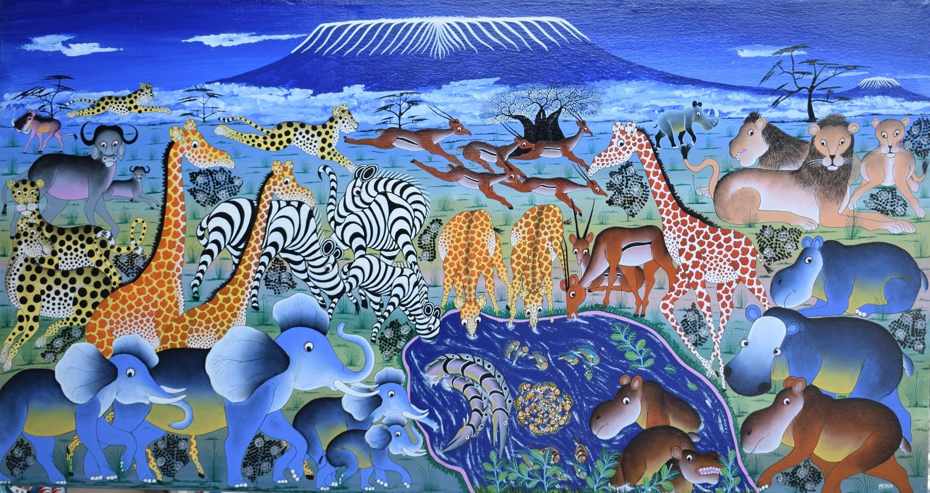 Tingatinga african painting of animals for sale