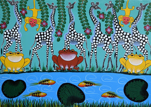 This is a bright painting of fish in a pond with frogs and giraffes watching. It was painted in Tanzania.