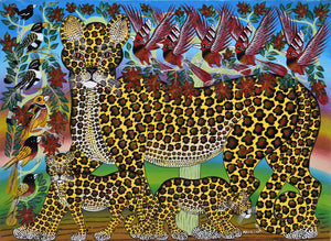 This is an african painting of a large cougar and her cubs.