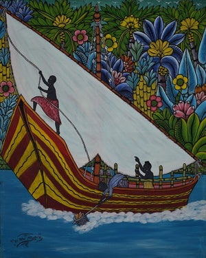 Handmade painting of a boat made in Tanzania