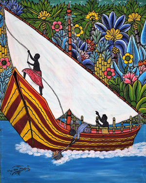 Handmade african painting of a boat for sale