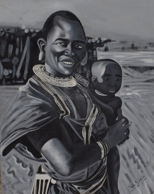 Handmade painting of Maasai father holding his son in Tanzania