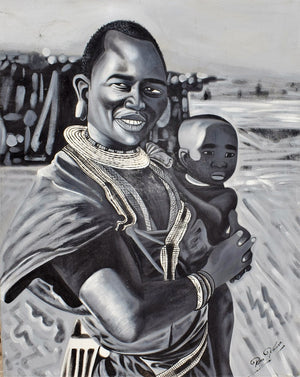 Handmade tinga tinga painting of Maasai father holding his son in Tanzania