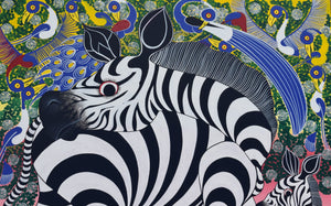 This is an african painting of three zebras painted in Tanzania.