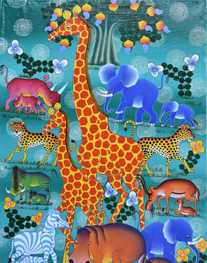 Tingatinga painting of a giraffe