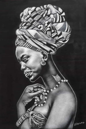 African wall art of an African lady
