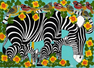 African wall art of zebras for sale