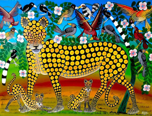 African wall art of a leopard with kids for sale