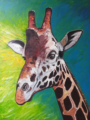 african wall art of giraffe for sale