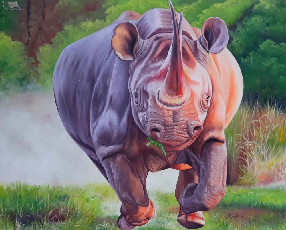 AFRICAN PAINTING OF A RHINO