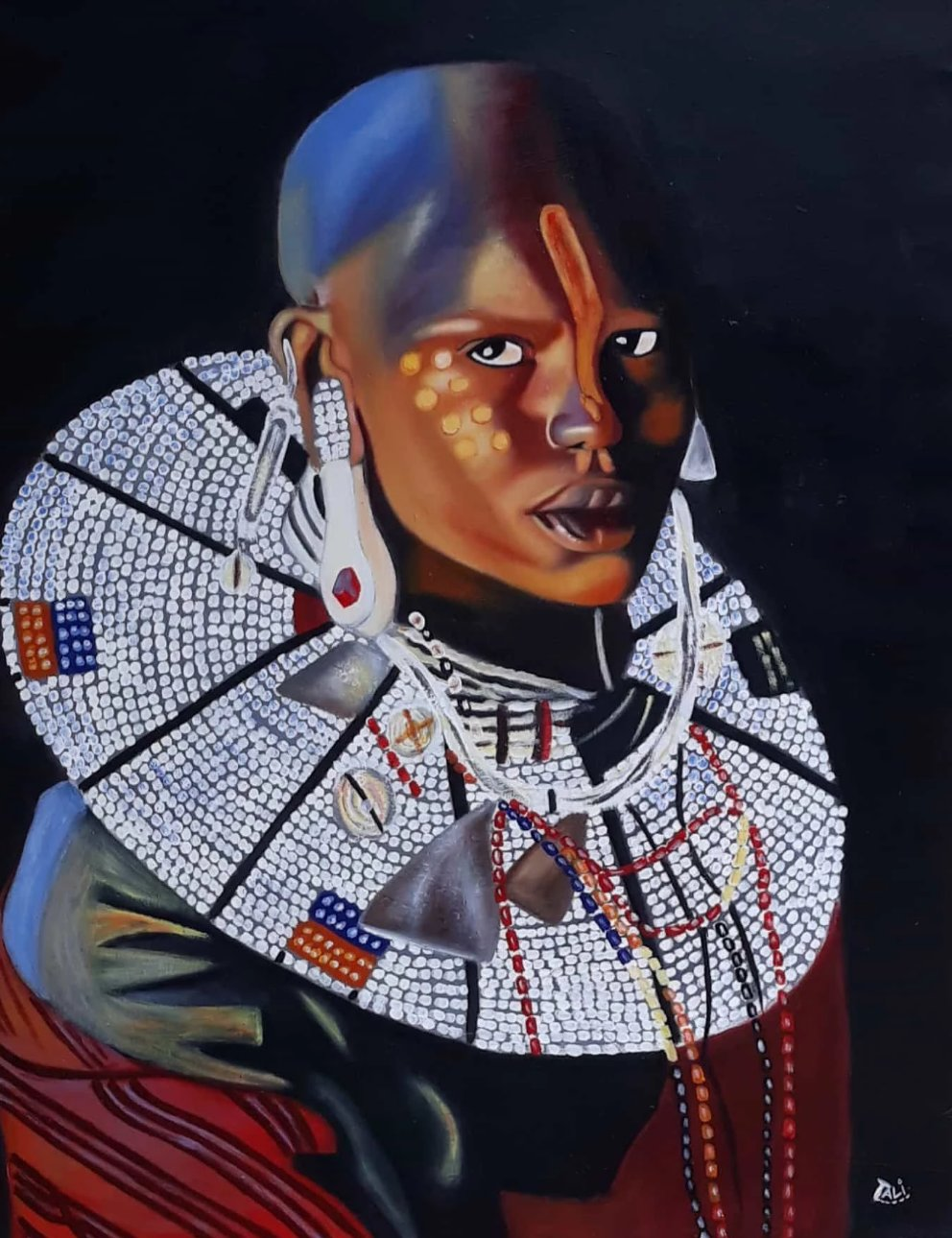 African painting of a maasai