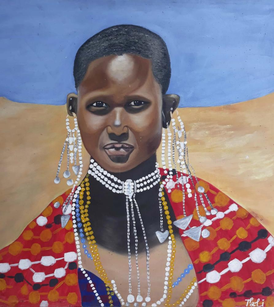 African painting of a woman