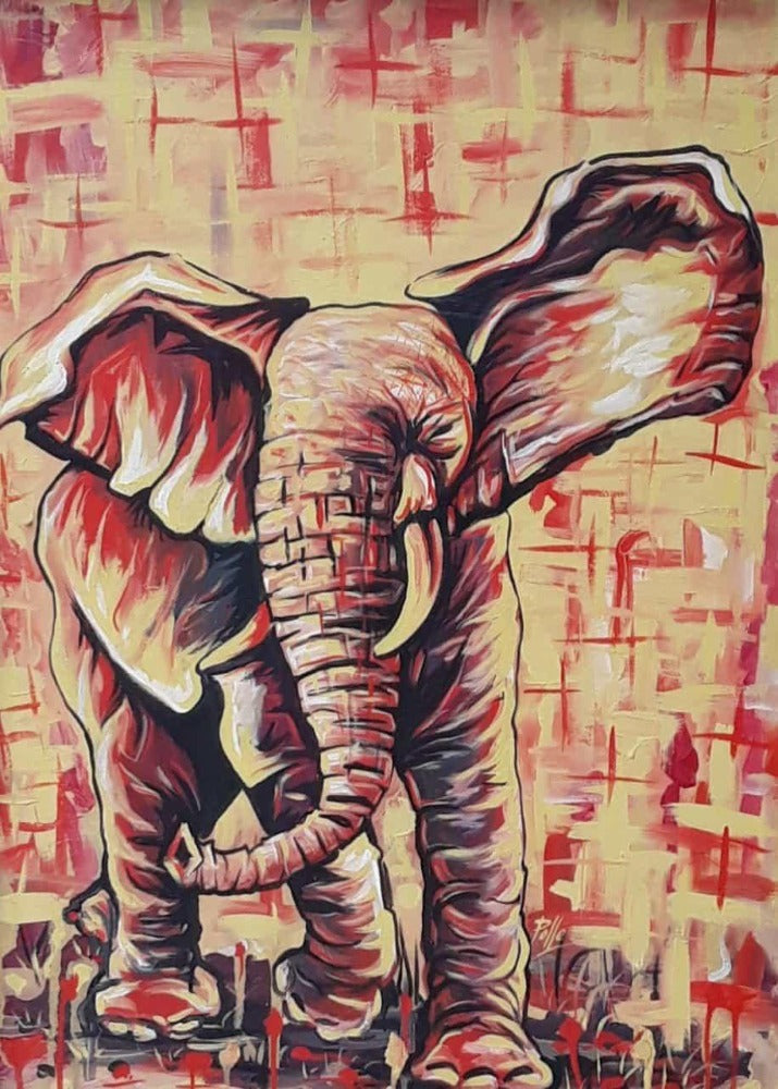African painting of elephant