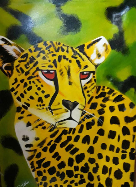 African painting of a cheetah