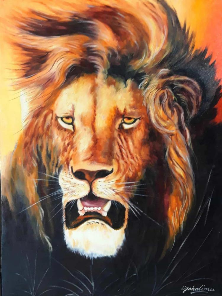 African painting of an angry lion