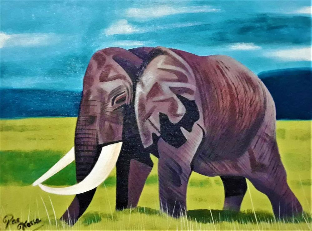 african painting of one elephant