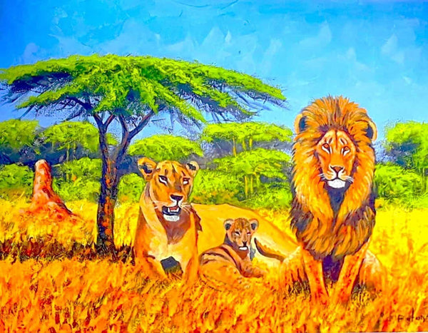 african painting of lions in the serengeti