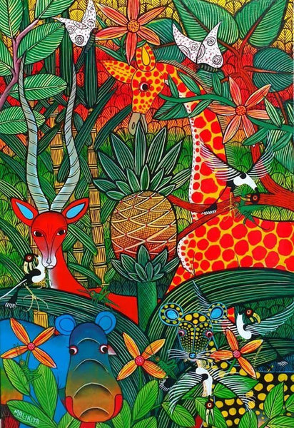 african painting of animals in the bushes