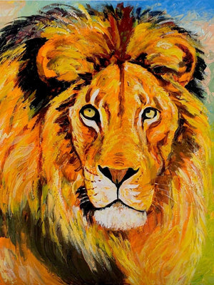 african painting of a real lion