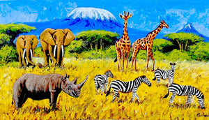 african painting of animals in the wild