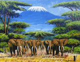 african painting of many elephants