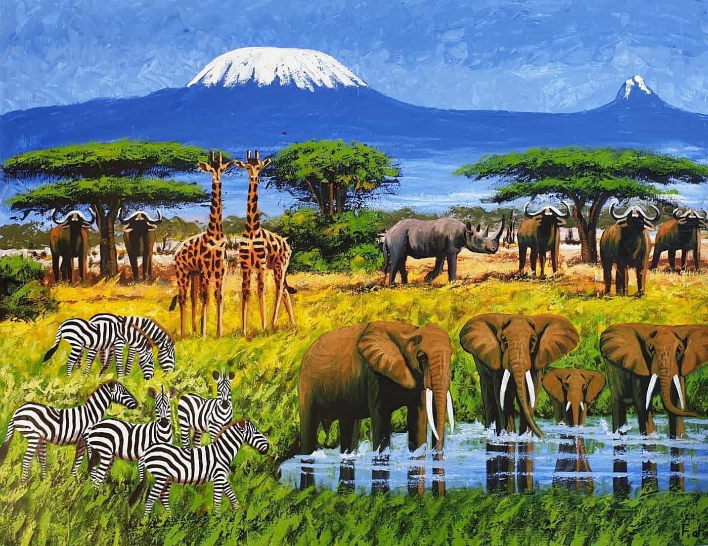 African painting of animals in the rainy season