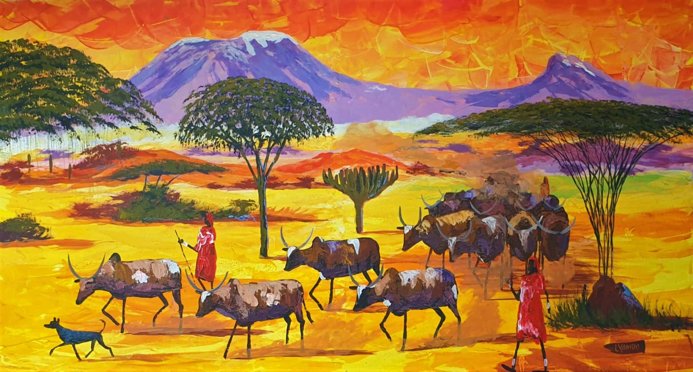 African painting of shepherds and animals