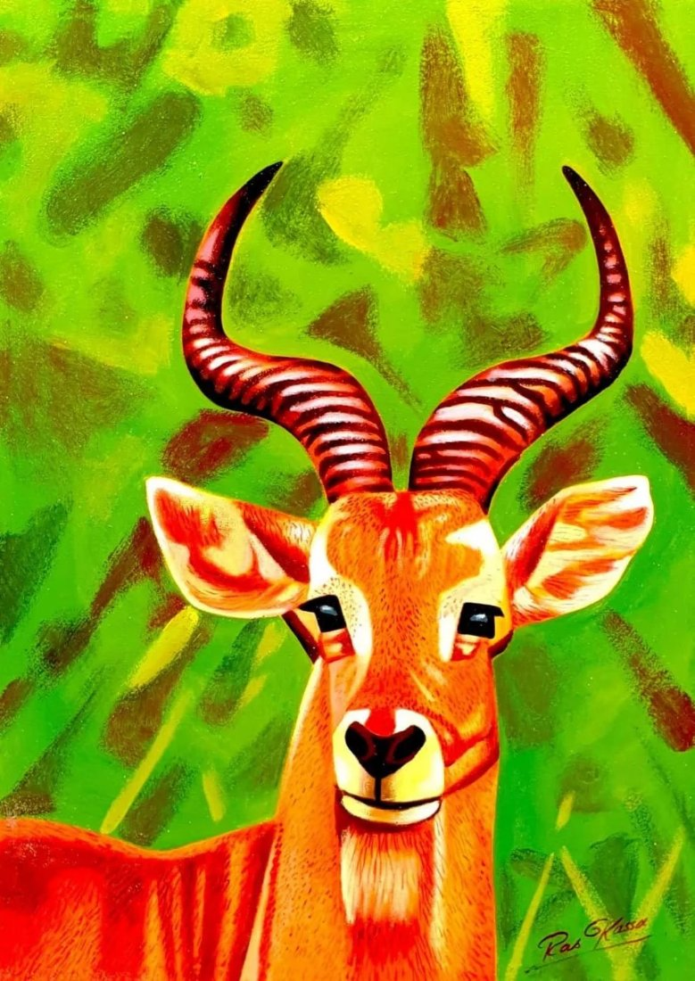 African painting of an antelope