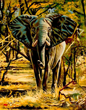 African painting of a huge elephant