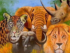 African painting of the biggest five animals in Tanzania