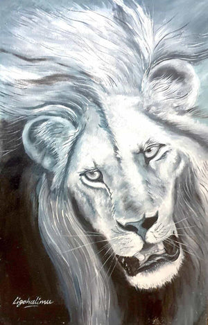 african painting of a white lion