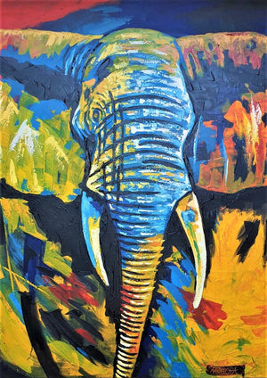 african painting of an elephant made using acrylic