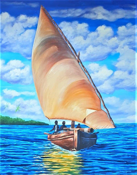 african painting of a boat