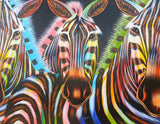 african painting of three zebras