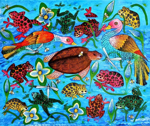 african painting of fishes