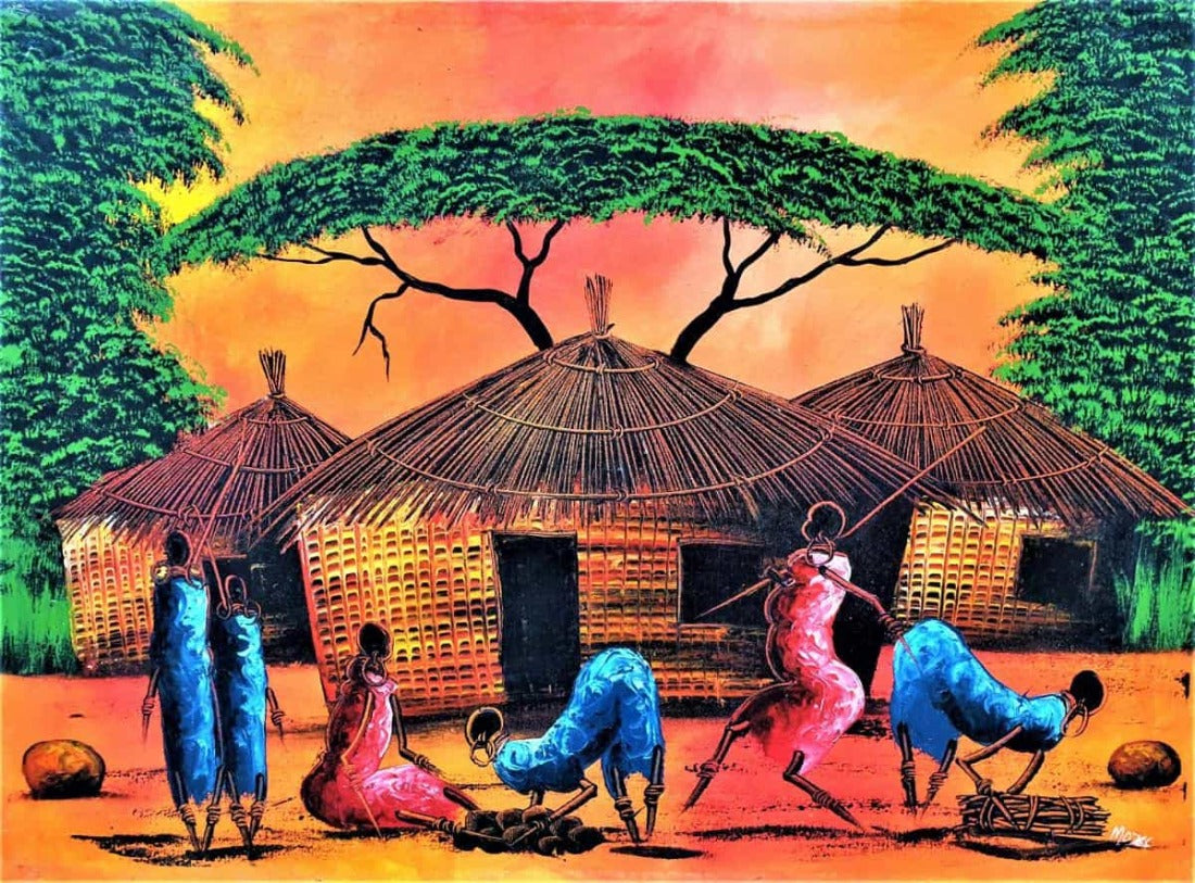 African painting of a small village