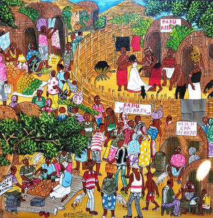 African art of a village for sale