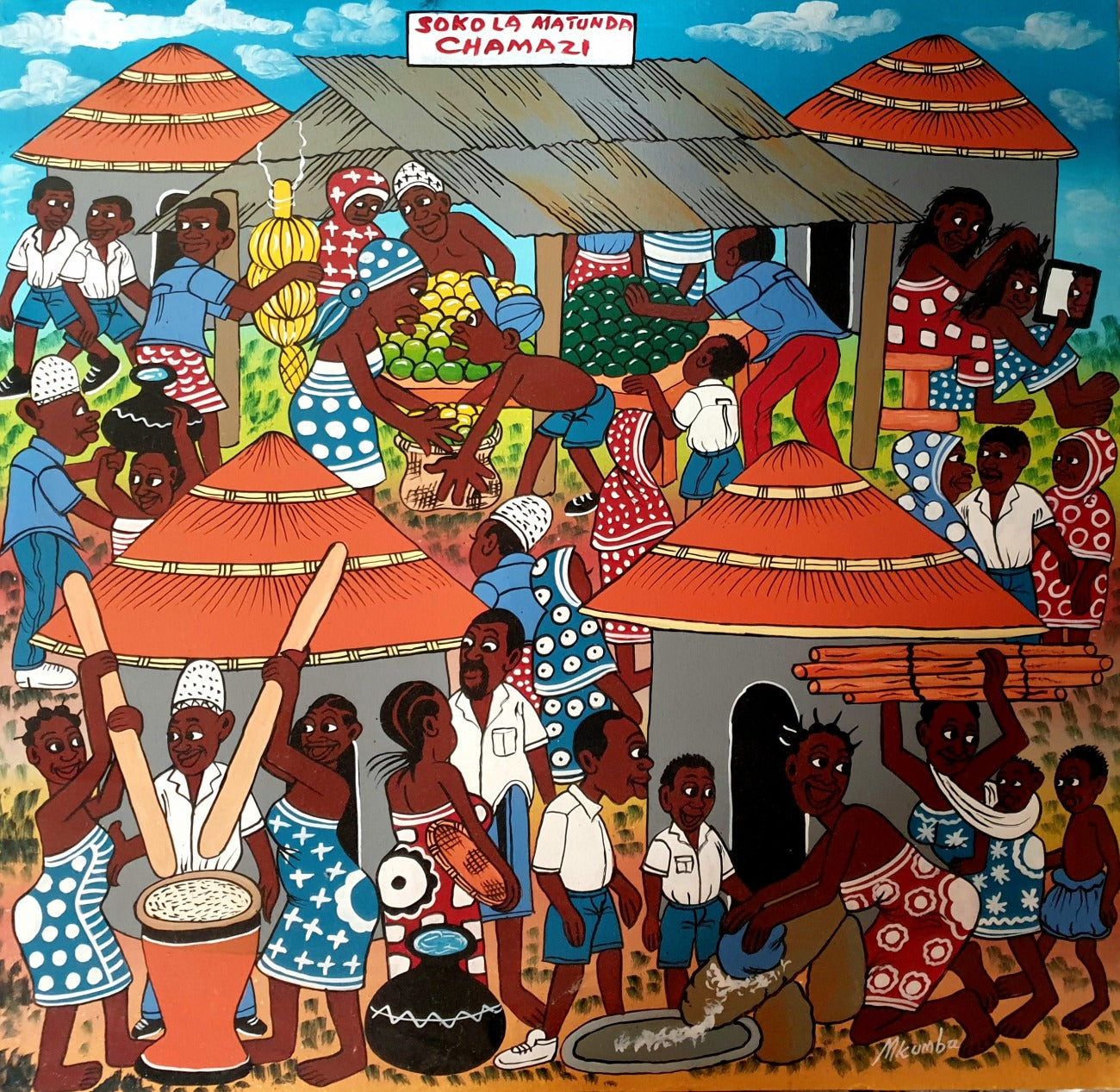 african painting of a fruit market